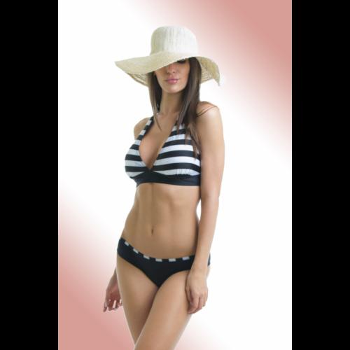 11d0a8ce40 Fekete csíkos, kivehető szivacsos, D kosaras kétrészes fürdőruha, Claudia  bikini