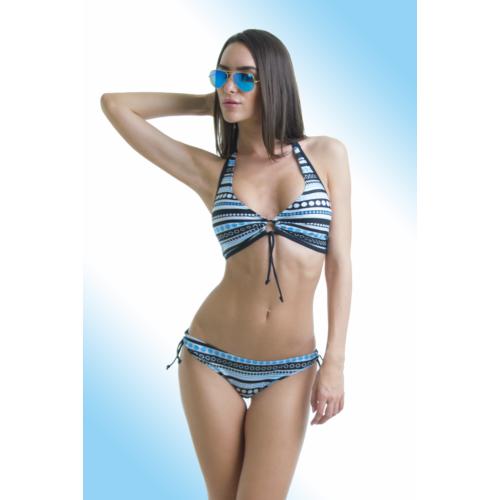 83327b0a96 Csíkos, pöttyös, kivehető szivacsos bikini, nagyméretű, D-kosaras  felsőrésszel. -