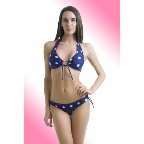 ad93119a88 Pöttyös, kivehető szivacsos bikini, nagyméretű, D-kosaras felsőrésszel. - Claudia  bikini
