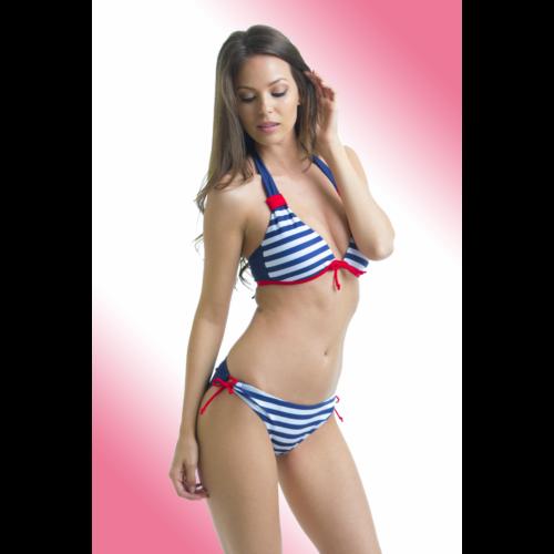 Matróz csíkos oldalpántos kétrészes fürdőruha - Claudia bikini 6ef0920a66